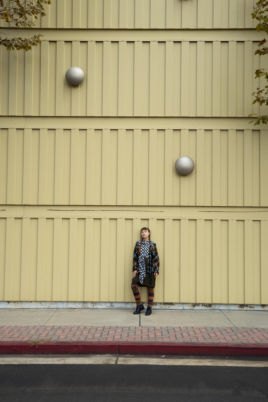 Vintage linen plaid jacket. Sofie D'Hoore polka dot wrap top. Issey Miyake skirt. Kapital leggings. Rachel Comey boots.