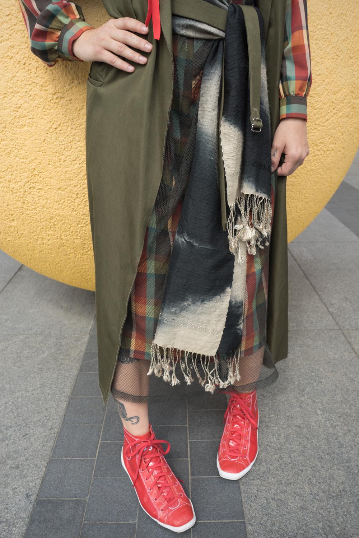 Vintage Lanvin plaid dress. Dries van Noten mesh dress. YSL long army green vest. Vintage Marian Clayden hand dyed sash.