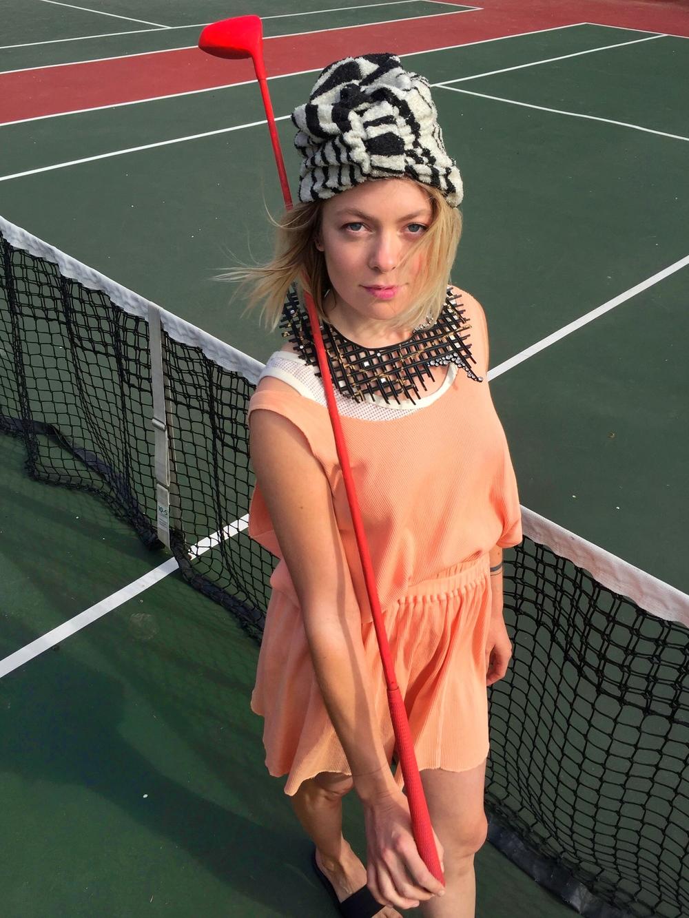 Issey MIyake Sport 2 piece tank top & skirt Rubber & rhinestone collar