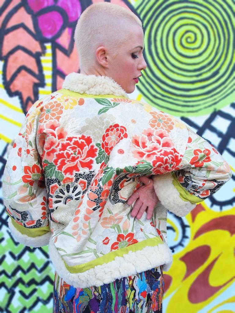 1960s brocade coat with fur trim. Dries van Noten rainbow print dress.