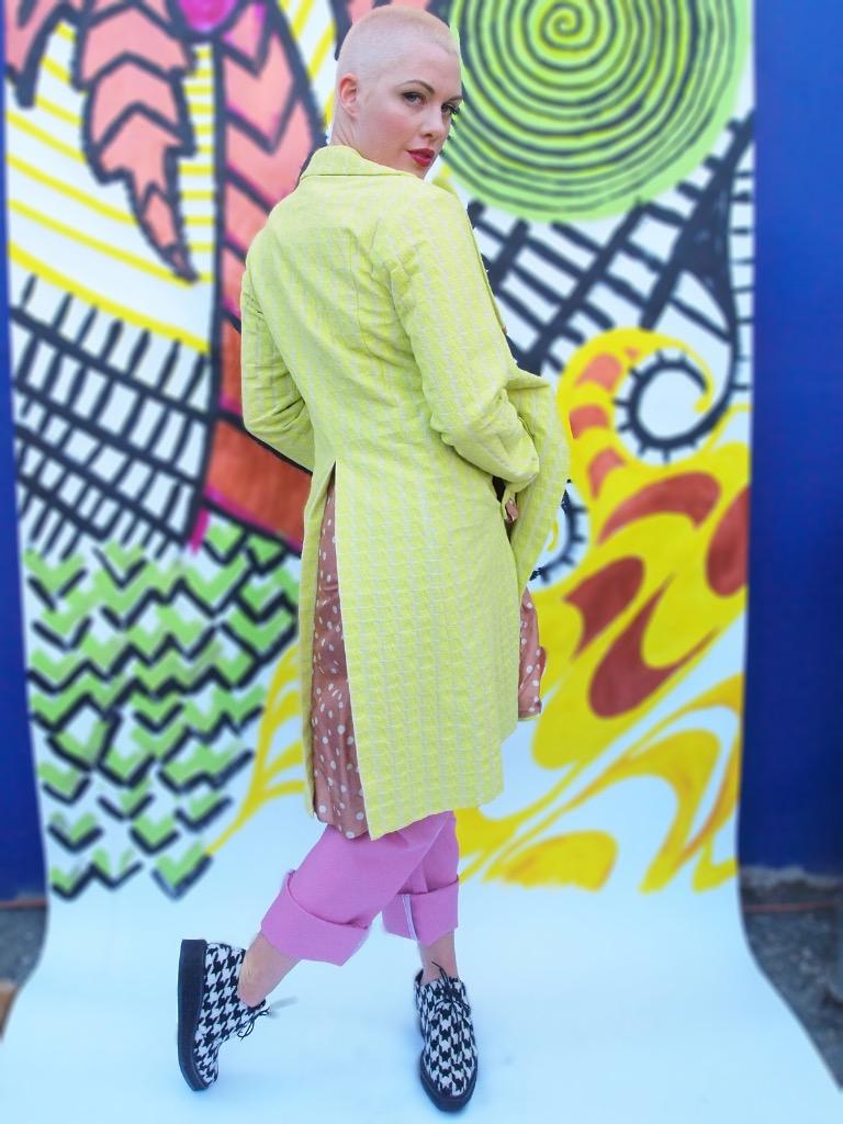 Marni neon and polka dot coat. Comme des Garcons pants. Yohji Yamamoto pants.