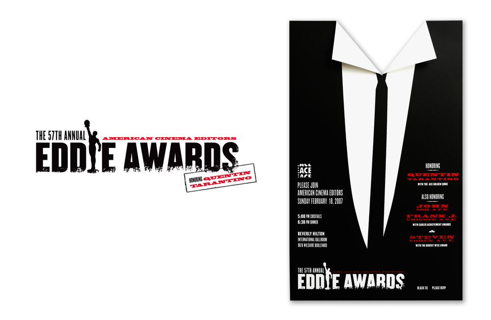 "Event branding, art direction, invitation and collateral for the 59th Annual American Cinema Editors ""Eddie"" Awards honoring Quentin Tarantino."