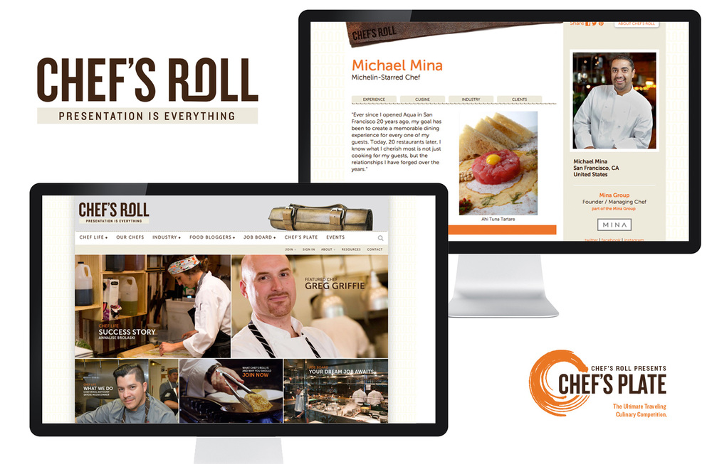 Complete identity, collateral and site for Chef's Roll,a global culinary network of professional chefs. Site includes both a content-driven side and a network side complete with personal expandable profiles.