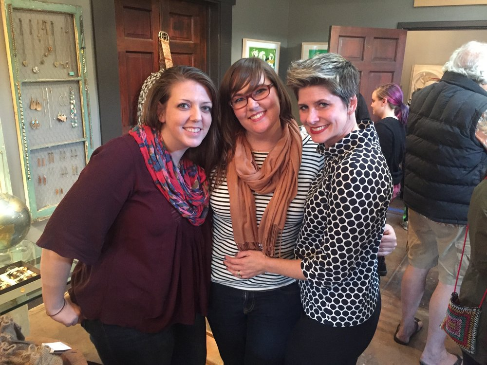 With the shows curators, Ashley Mistriel (Left) and Theresa Knopf Morgan (center)