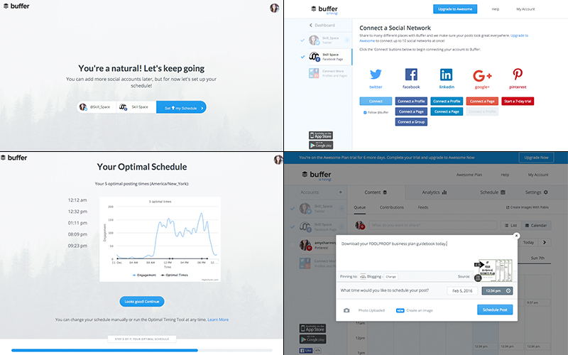 From left to right: the account creation; manage your profiles; the graph displaying our Twitter accounts optimal scheduling times; and scheduling a Pinterest post.