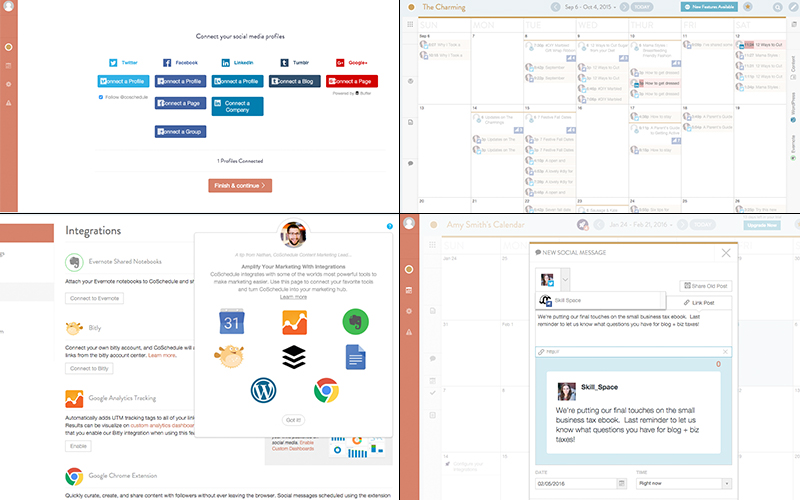 From left to right: account creation and managing profiles; the drag-and-drop editorial calendar displaying scheduled WordPress blog posts and social media posts; the various possible integrations, eg connecting your Evernote account; scheduling a Tweet.