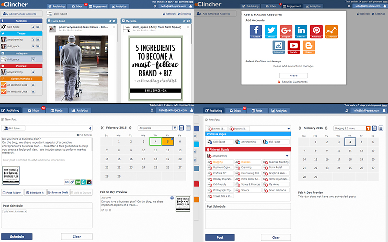 From left to right: the home page, including my Instagram feed both of my followers and my own profile; the different profiles you can connect; scheduling a Facebook post; scheduling a Pinterest post to two boards.