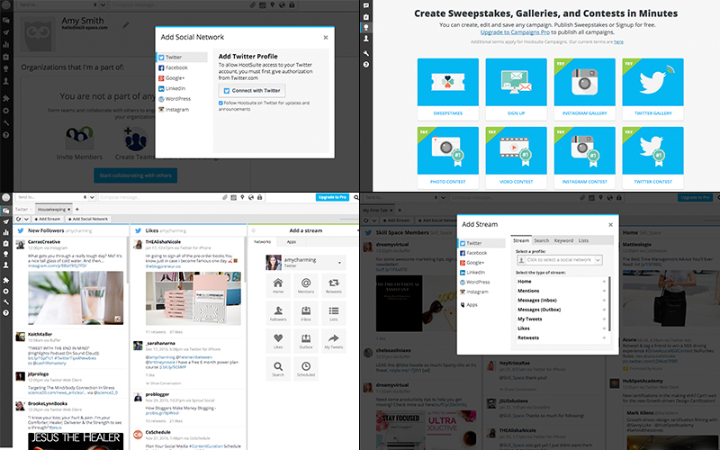 From left to right: adding a social profile; Hootsuite Campaigns where they can run and manage a sweepstakes, contest, or gallery for you; the window browser showing the dashboard with two tabs and streams; examples of streams you can add.