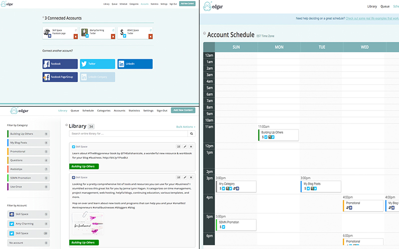 Top left: setting up your profiles; bottom left: the library or queue with the different categories and you can also filter by social network; right: a partial shot of the weekly schedule.