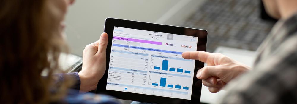 Customer revenue team analyzes shipment trends using  SmartKargo's  information dashboard.   That's Capacity Management!