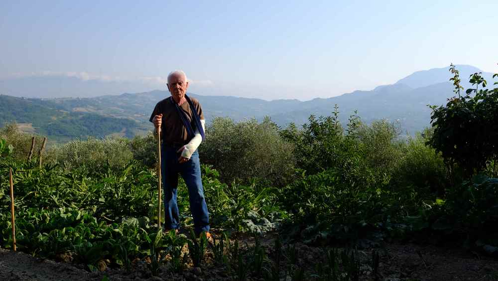 Nonno Gaetano in the garden