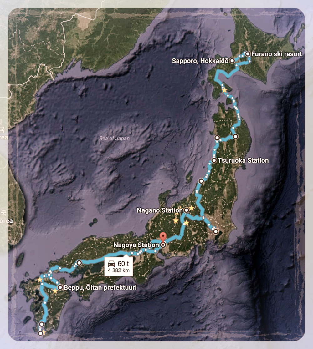 Map of our journey