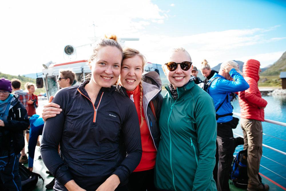 Kaisa ,  Anna and  Liisa  enjoying the ferry ride from Gjendesheim to Memurubu