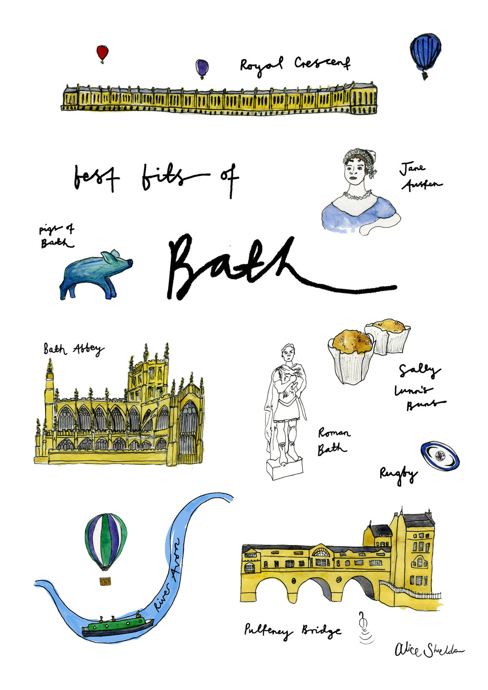 Bath Tea Towel design exclusive to Anthropology Bath Store.