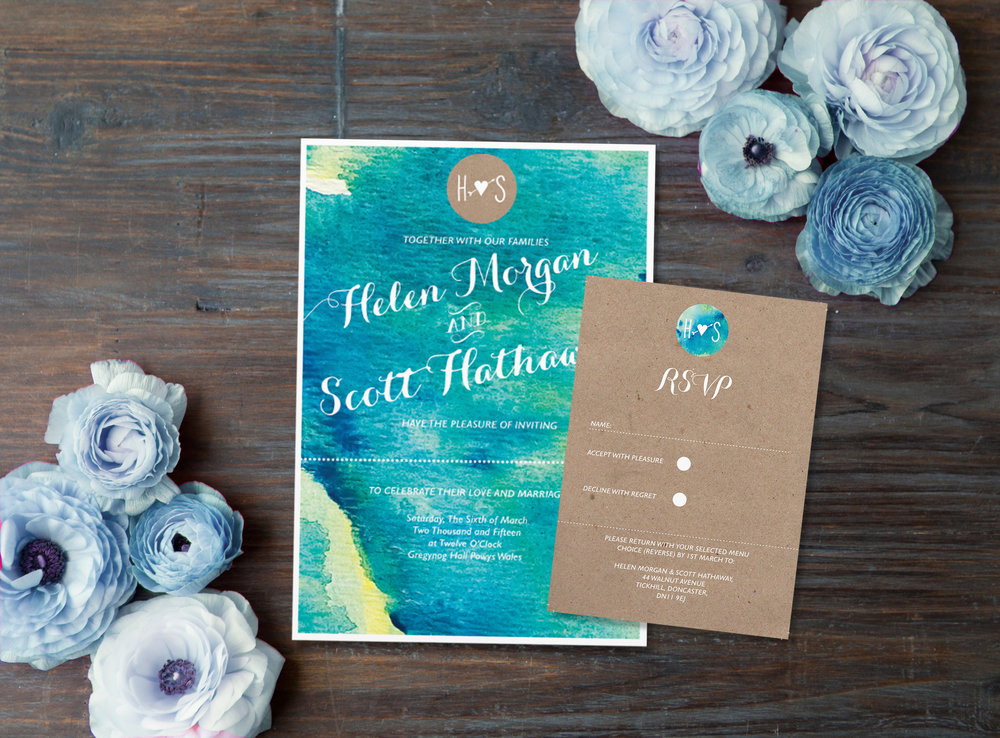 HATHAWAY Perfect for a country wedding - this style favours a marriage between watercolour blues on beautiful textured Italian stock and uncoated brown stock.