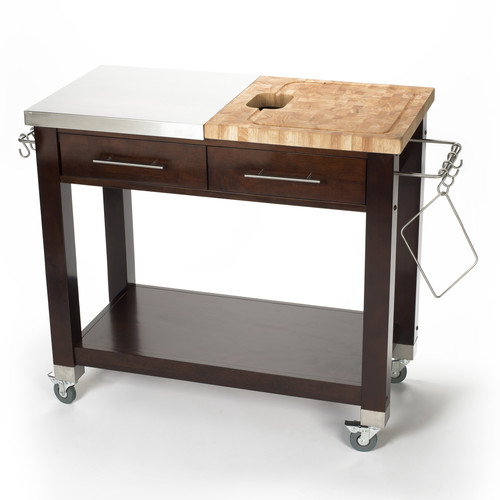 Chris Chris Chef Pro Workstation Stainless Steel Butcher Block - Stainless steel table with butcher block top