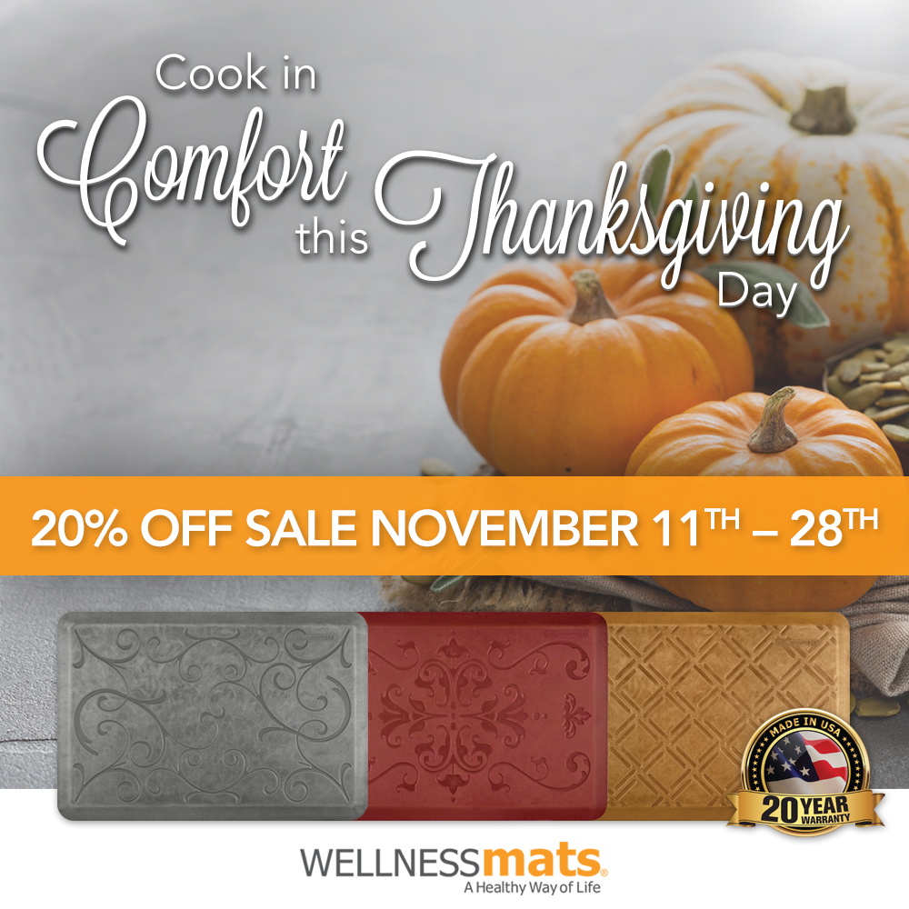 ...use coupon code GDW9I1B to get your 20% discount on WellnessMats. Free Shipping and No Sales Tax for purchases outside of NC!