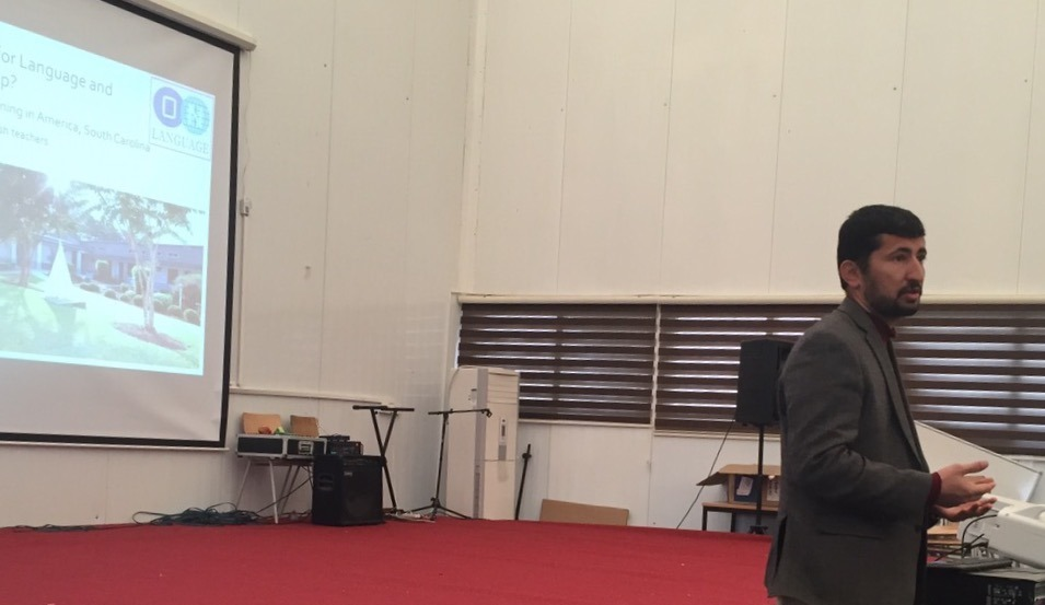 ON Language President Khalid Ibrahim, presenting at University of Dohuk, Iraqi Kurdistan, December 2015