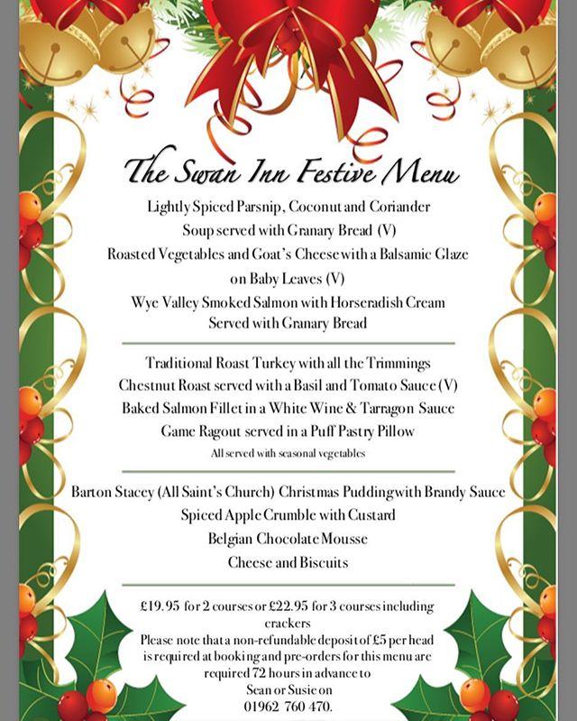 The Swan Inn's Festive Menu 2017. Bookings already being taken.