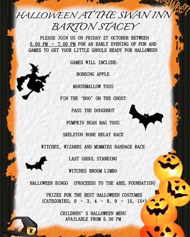 Hallow'een at the Swan Inn. From 5 pm on Friday 27th October in preparation for Trick n'Treating on the 31st!