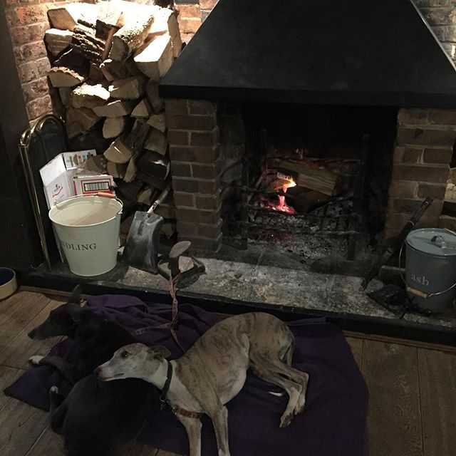 Chilling out at the Swan Inn in front of the fire!