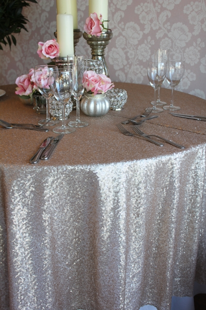 Gold sequin cloths to hire