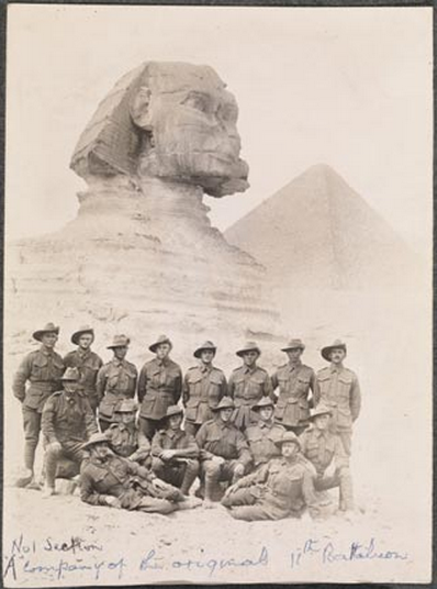 [IMAGE: NO. 1 SECTION, A COMPANY OF THE 11TH BATTALION IN FRONT OF THE SPHINX,10 JAN 1915. CA/2716B. REPRODUCED COURTESY OF STATE LIBRARY WA]
