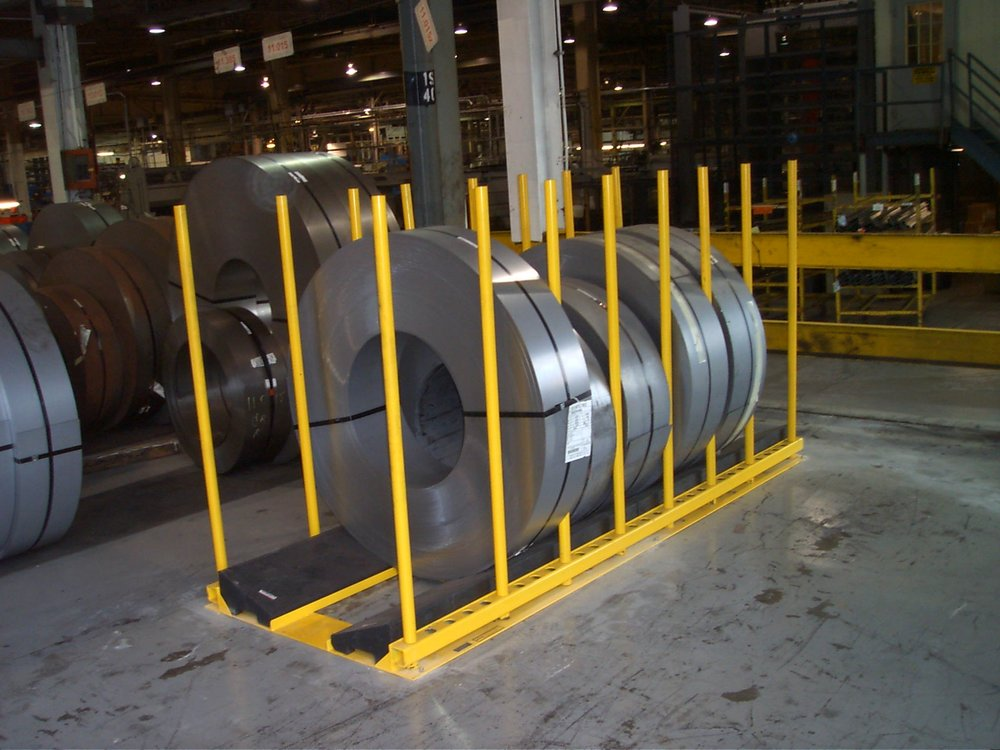 Steel Coil Stands : Stationary slit coil rack — philpott rubber company