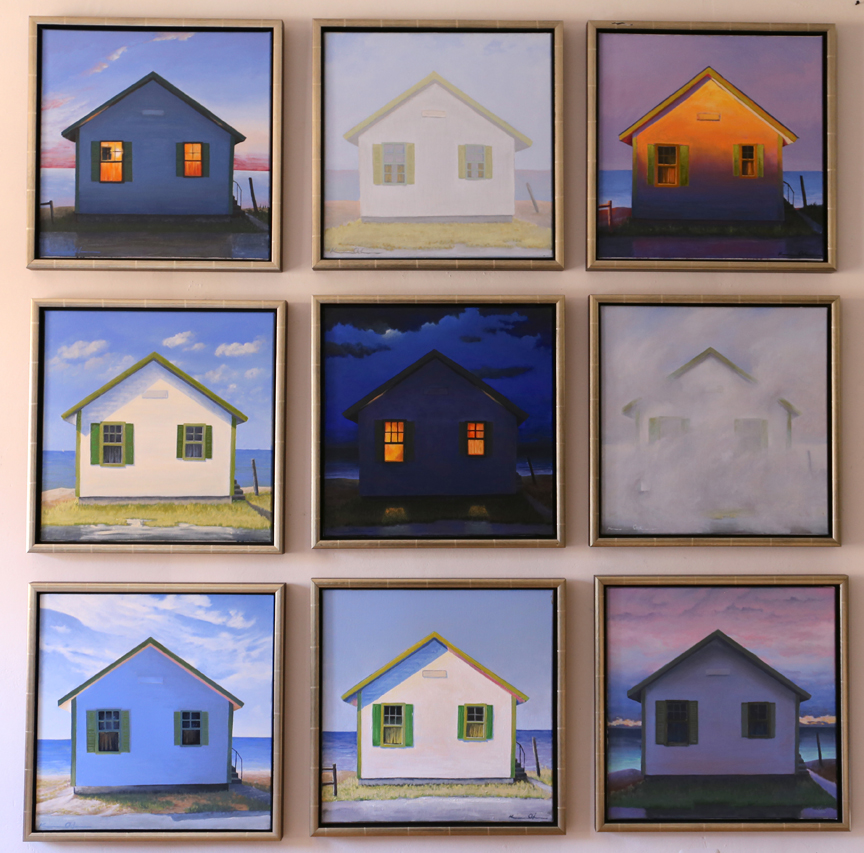 "Flower Cottages (Group of Nine: each   20"" x 20"") Go to: www.juliehellergallery.com to see which ones are still available.  Oil on Canvas (call to see which ones are still available: 540-227-5100)"