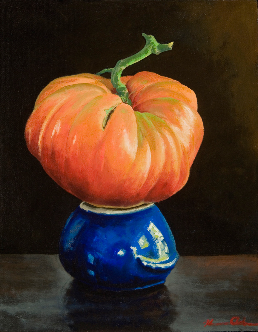 Tomato on Bean Pot   8 x 10   Oil on Canvas (sold)