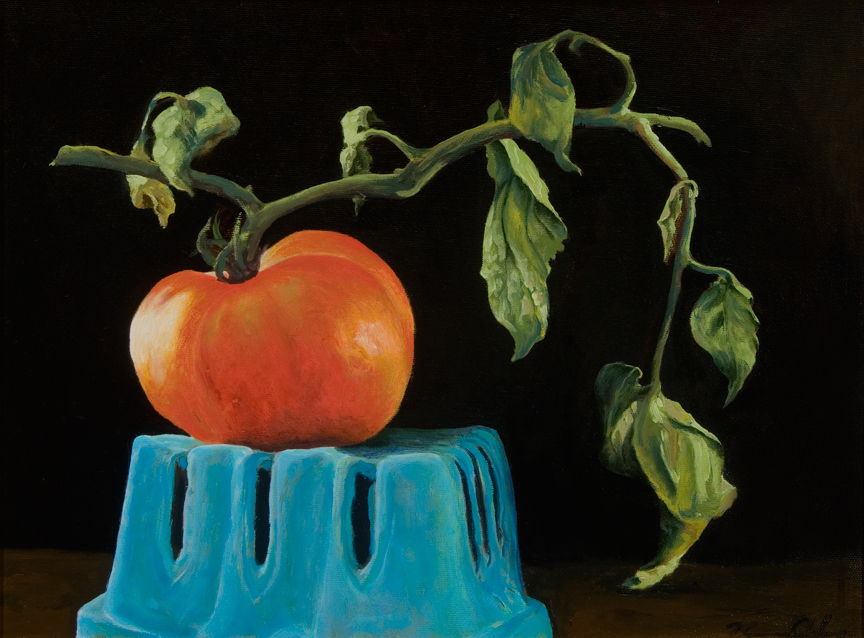 Tomato with Branch   12 x 16   Oil on Canvas (sold)