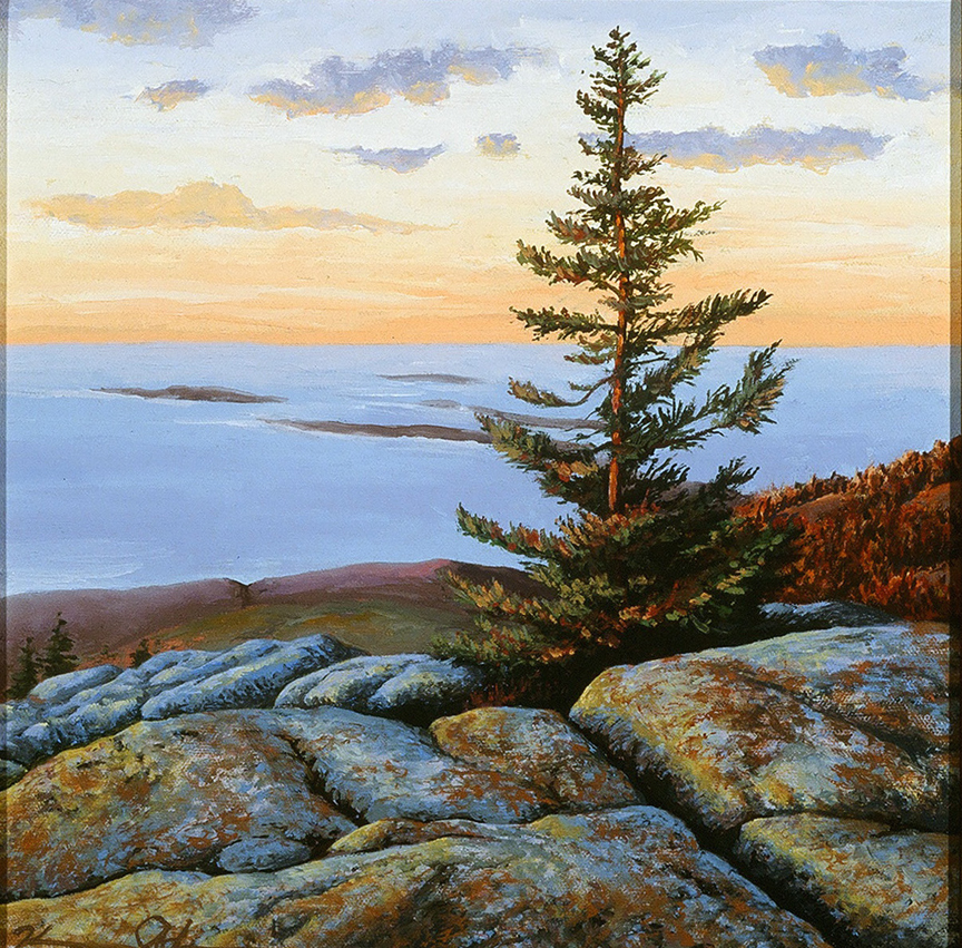 Sunrise on Cadillac Mountain   12 x 12   Oil on Canvas