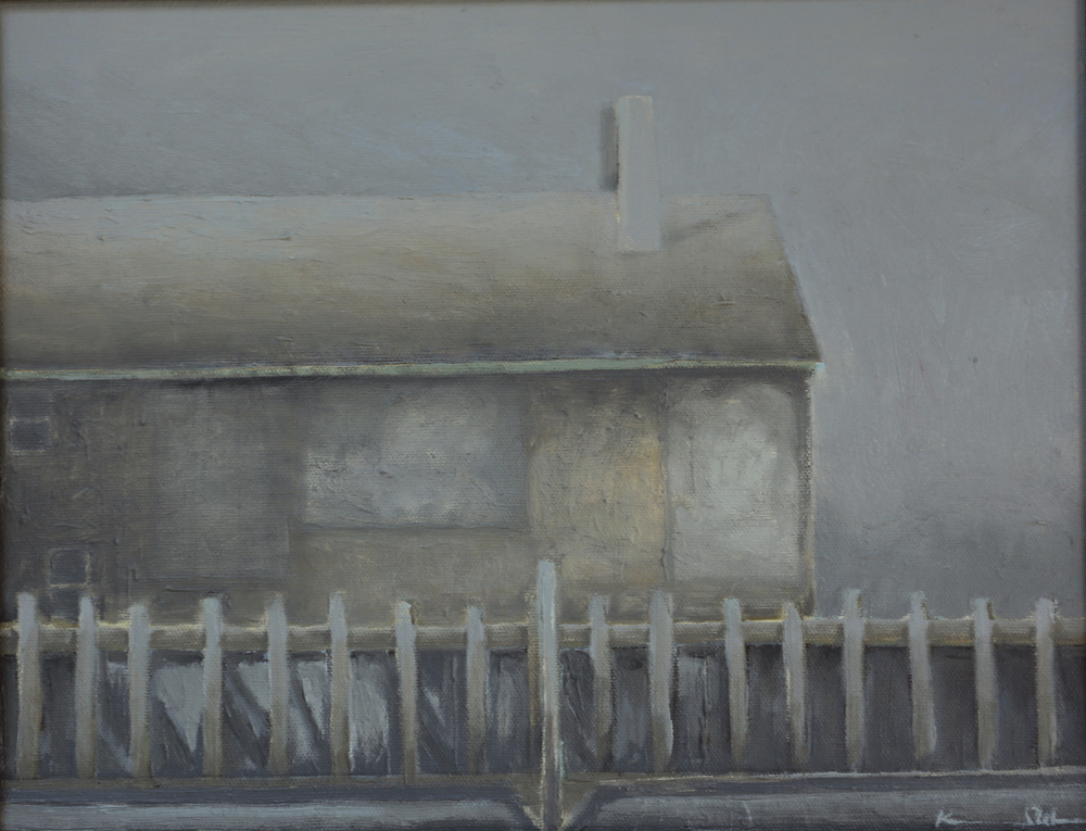 Boathouse in Fog 11 X 14 oil on board (SOLD)