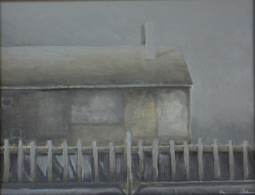 Boathouse in Fog 11 X 14 oil on board (SOLD)