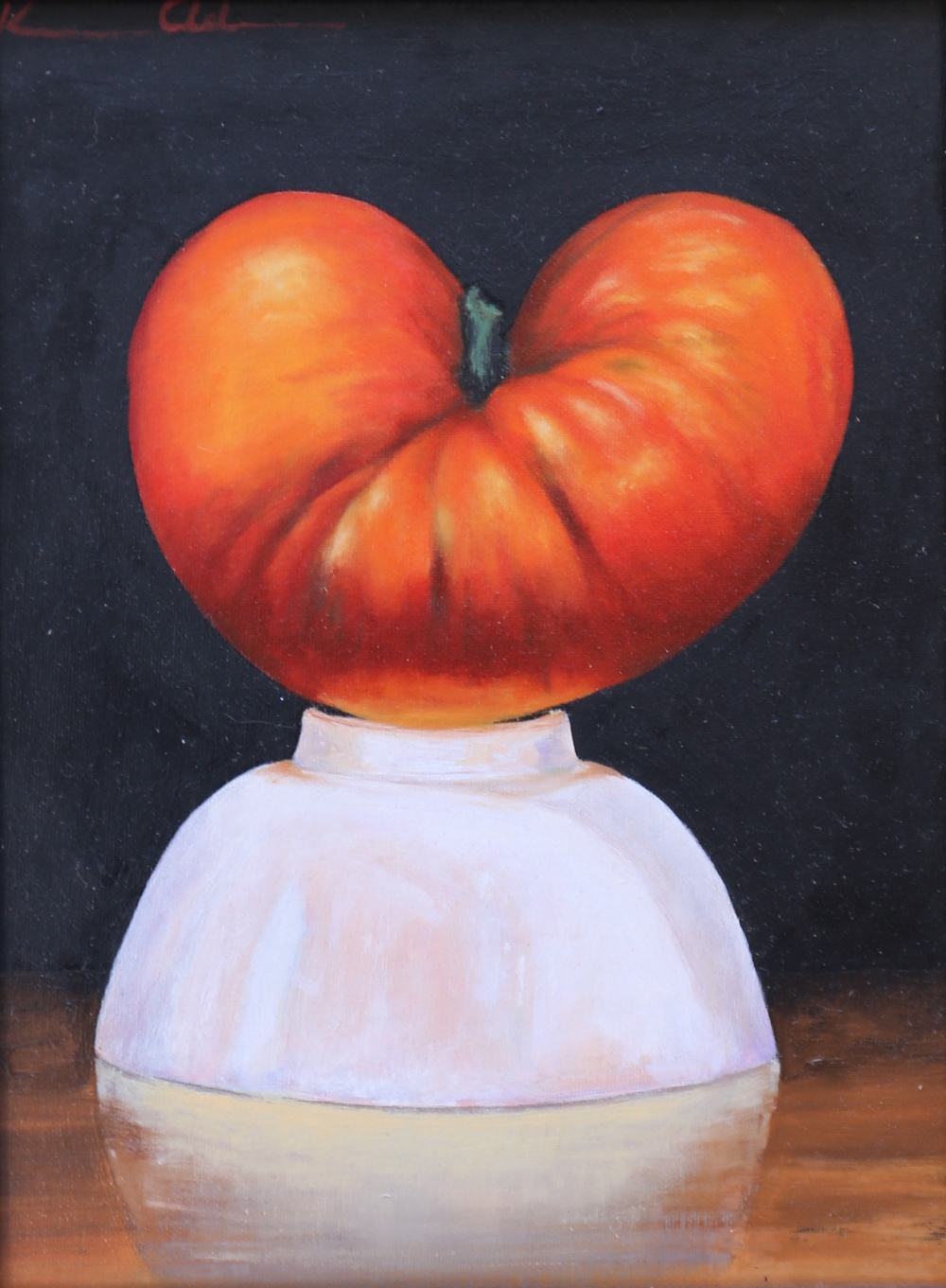 Tomato & White Bowl 9 X 12 oil on panel