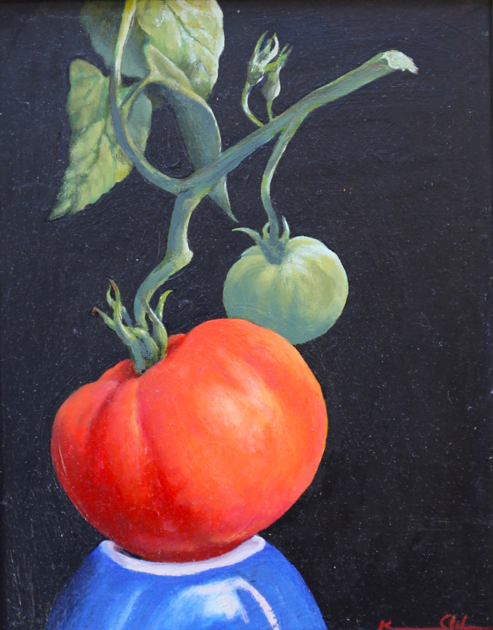 Stem with Two: Red & Green 8 X10 oil on panel SOLD