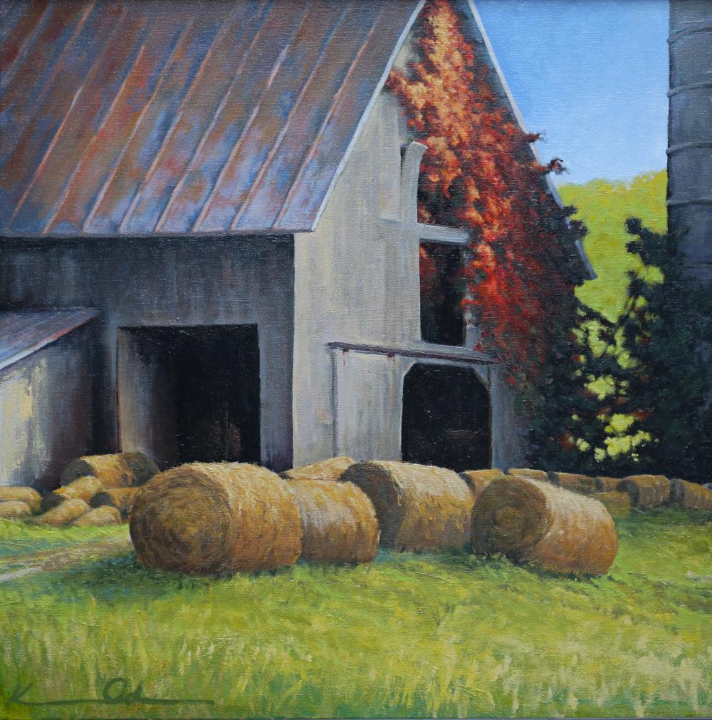 Rudasill Mill Barn 20 X 20 oil on canvas (sold)