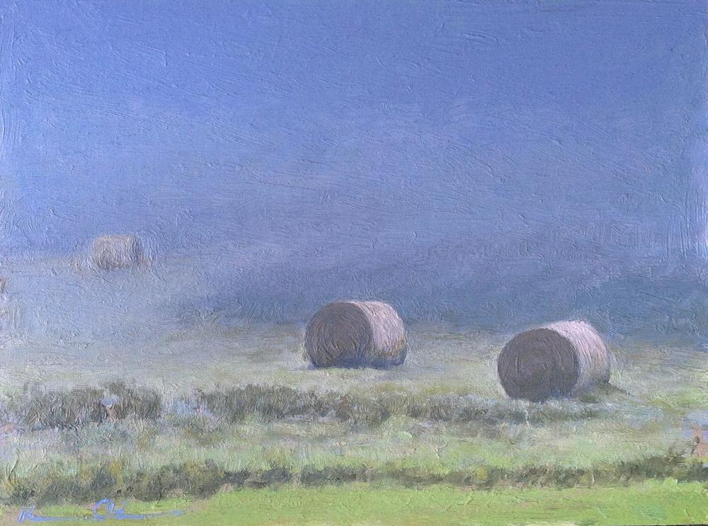 Hay in Fog 8 X 10 oil on panel