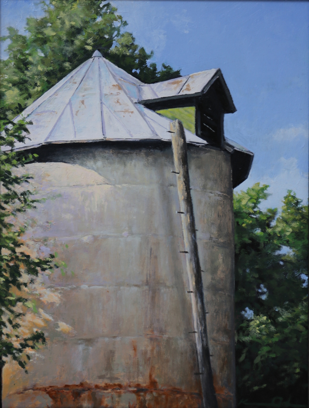 Silo and Ladder 11 X 14 oil on panel  SOLD