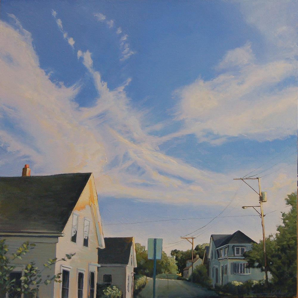Sunset on Bradford 20 X 20 oil on canvas  (SOLD)