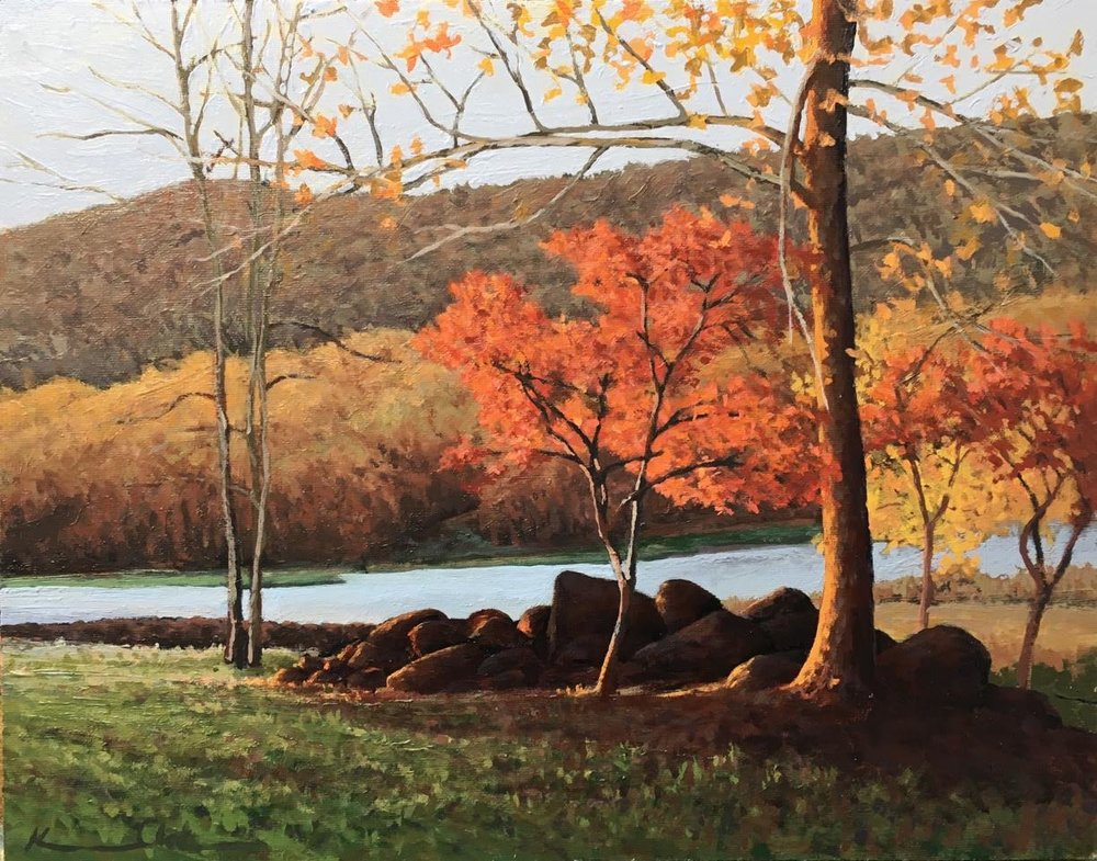 Along Whipporwill   11 X 14  oil on panel