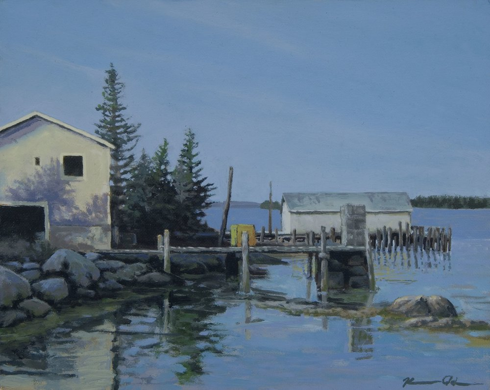 Maine Boathouse 8 X 10 oil on panel (sold)