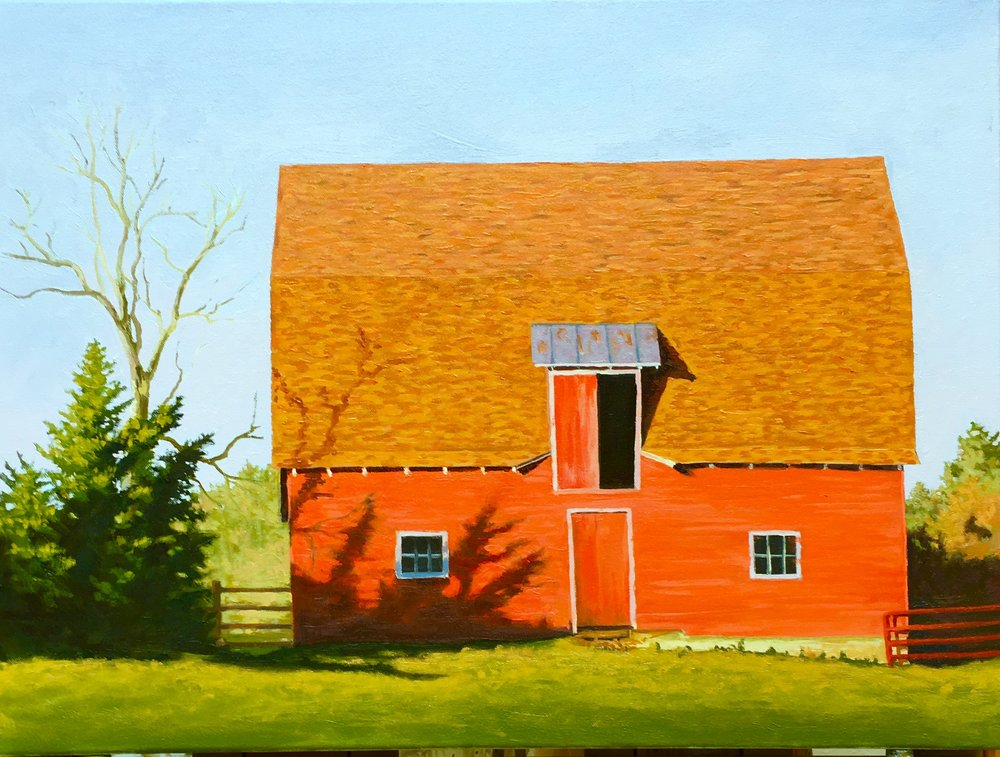 """""""One of Two: Red Barns 18 X 24 oil on canvas"""