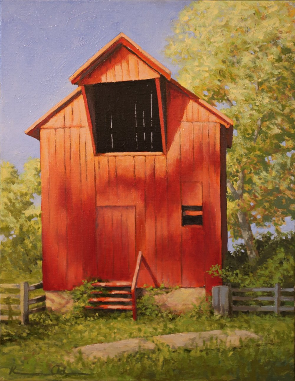 """Hay Barn"" oil on linen 14 X  18"