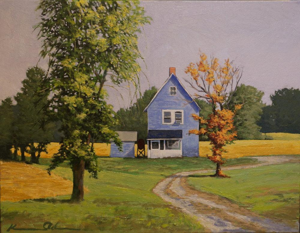"""""""Blue Farm House"""" oil on linen 14 X 18"""