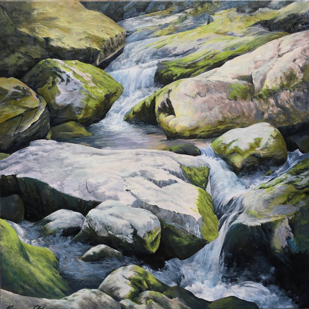 Among the Rocks 24 X 24 oil on canvas