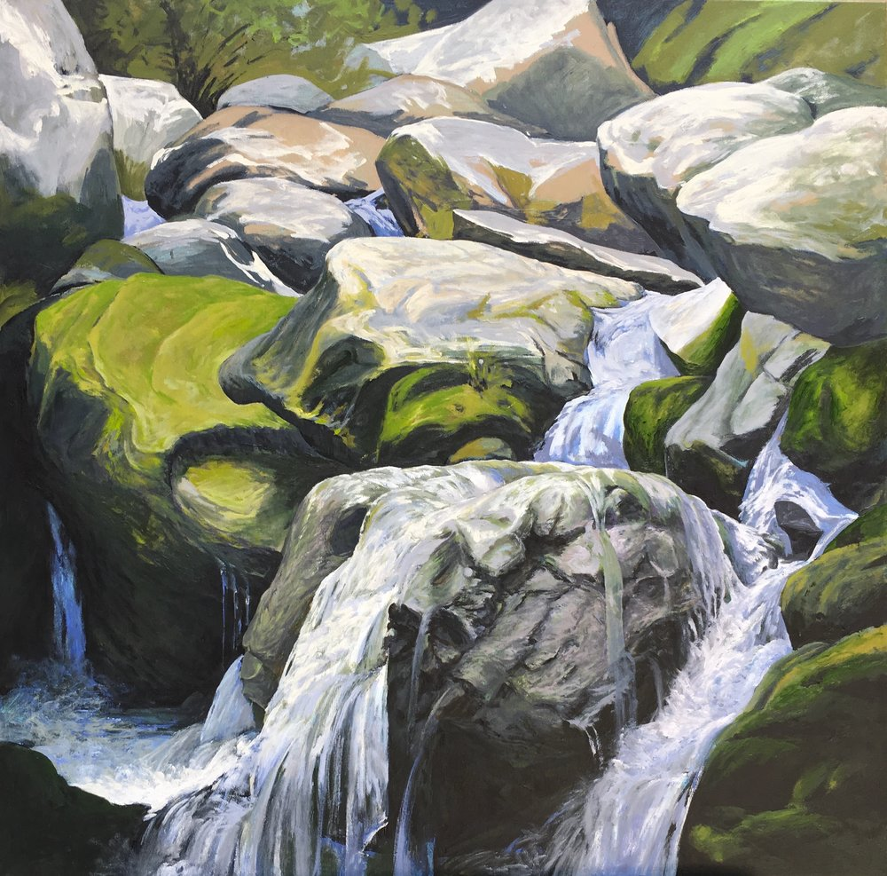 Dark Hollow Falls 36 X 36 oil on canvas
