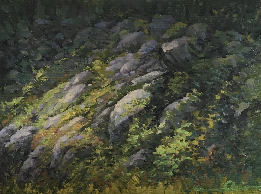 Along Skyline Drive 9 X 12 oil on panel