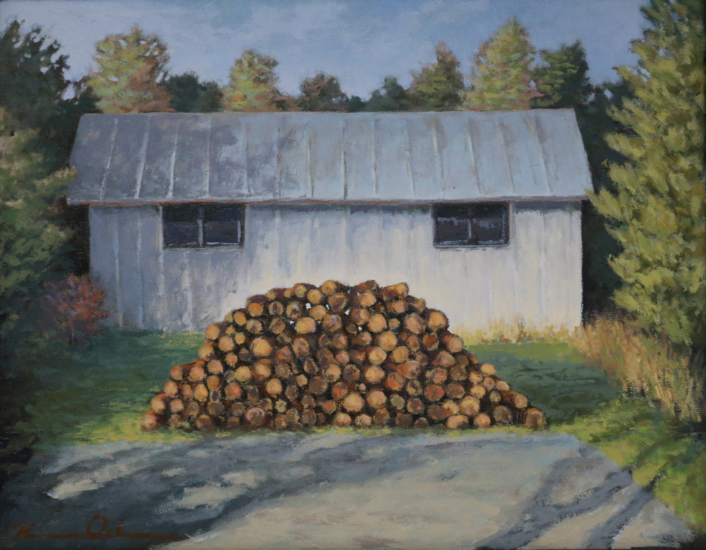 """ Wood Pile ""  11 X 14 oil on canvas"