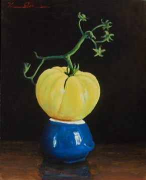 """Small Yellow with Stem"" 8 "" X 10""  oil on canvas  (SOLD)"